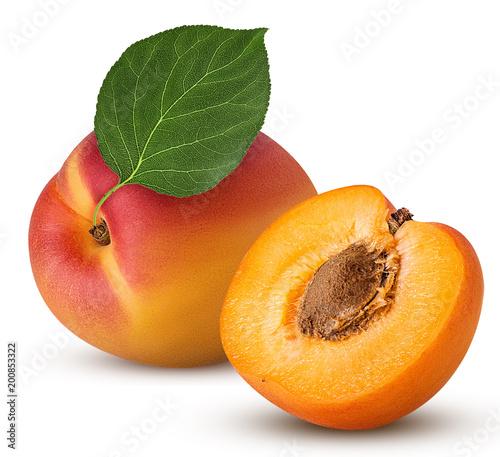 Fresh ripe apricot with leaf, one cut in half with bone - 200853322