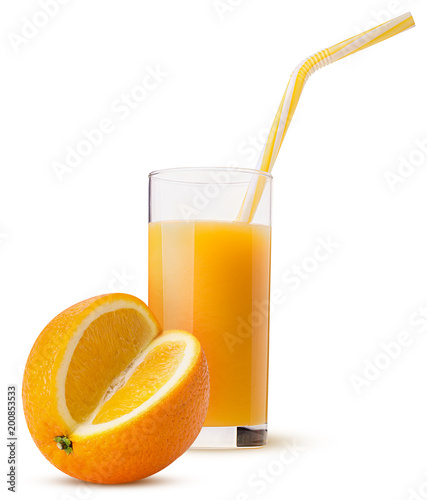 Fotobehang Sap Glass of fresh orange juice with a yellow striped straw and oranges three quarters