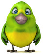 Fun green bird - 3D Illustration - 200854119