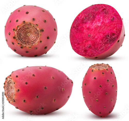 Collection red opuntia, whole, cut in half