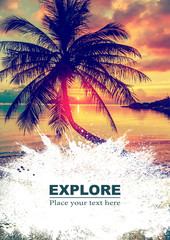 Background and design, with a splash effect, with a photograph of a beautiful sunset beach and a place for text, travel and vacation concept.