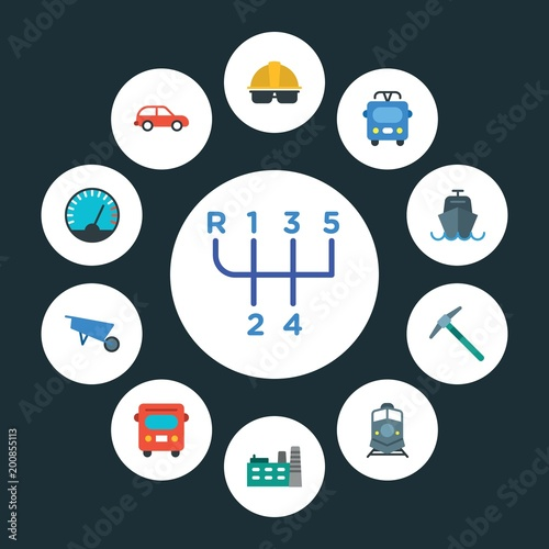transports, industry Infographic Circle flat Icons Set. Contains such Icons as public,  car,  road,  speed,  transport,  ocean,  transportation,  building and more. ..Fully Editable. Pixel Perfect..