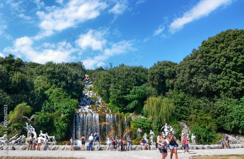 Fotobehang Khaki Caserta, Campania region, Italy August 22 2016. The splendid Royal Palace of Caserta, with its three kilometers of promenade along the fountains and pools adorned with statues.
