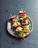 Grilled Chicken, Avocado and Red Onion Skewers with fresh herbs - 200861384