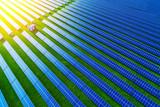 Solar energy farm. High angle view of solar panels on an energy farm - 200861755