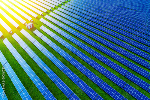 Solar energy farm. High angle view of solar panels on an energy farm