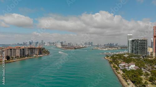 Fisher Island near Miami Beach, aerial view of Florida