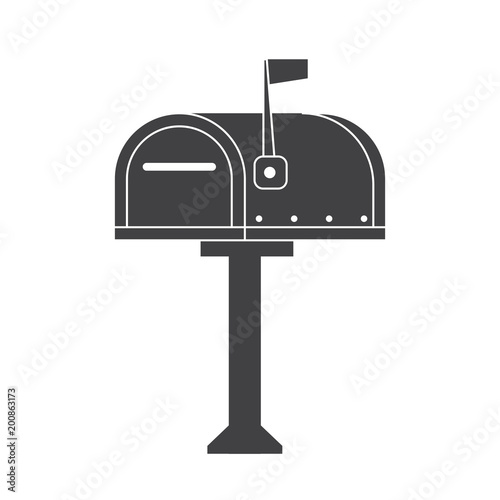 Modern Letter Box For Mail Letters Outline Illustration Vintage
