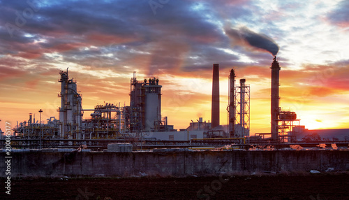 Factory with air pollution, Oil industry