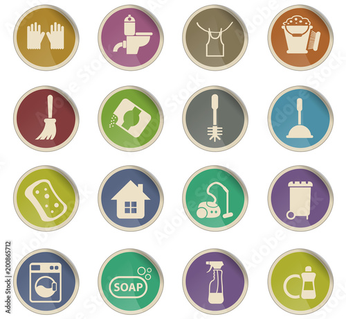cleaning company icon set