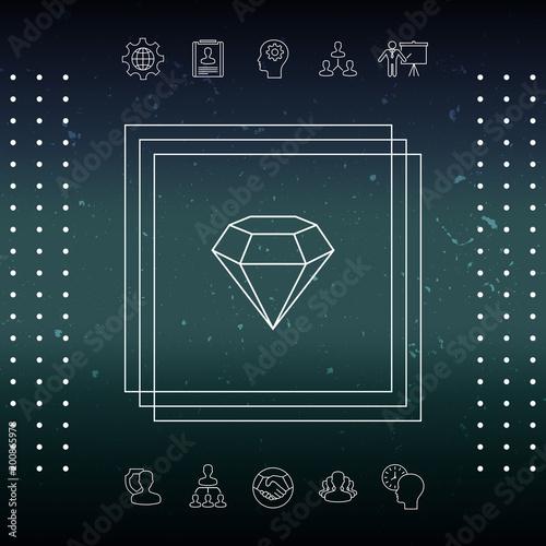 Znak diamentu. Symbol biżuterii. Kamień szlachetny. Płaskie prosta konstrukcja - ikona linii