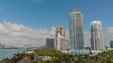 Aerial view of Miami skyline from South Pointe Park, Florida