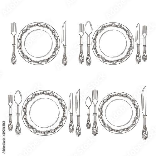 Vector variations of cutlery arrangement set illustration