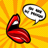 Woman lips illustration greeting card. Beautiful red kiss banner with lipstick makeup. You are my passion