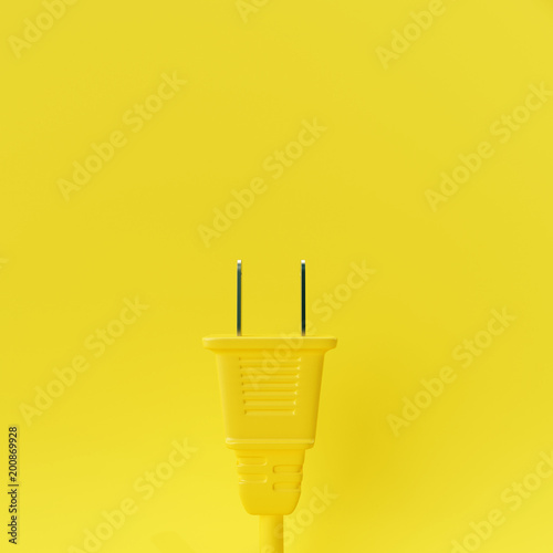 Plug on pastel yellow background. 3d rendering © aanbetta