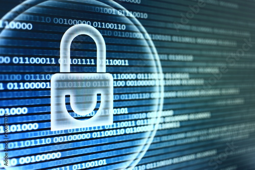 White graphic symbol of a padlock on binary computer display - computer data protection Poster