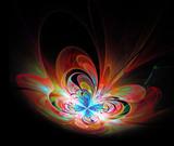 illustration colorful butterfly fractal 3d render