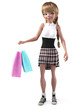 3D rendering of a cute teenage cartoon girl shopping. - 200873594