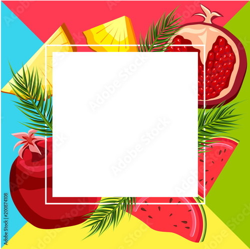 Square background with tropical fruits.
