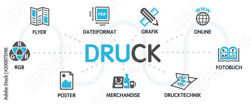 DRUCK Vektor Grafik Icons Piktogramme