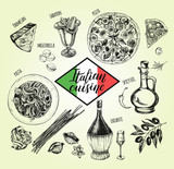 Pizza, chianti wine, mozzarella, spaghetti pasta, oil in a glass jug, parmesan, sabayon. Set of traditional dishes and products of Italian cuisine. Ink hand drawn Vector illustration. Food elements. - 200878973