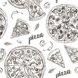 Decorative seamless pattern with round pizza and pieces of pizza. Italian cuisine. Ink hand drawn Vector illustration. Composition of food elements for menu design. - 200879109