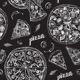 Decorative seamless pattern with round pizza and pieces of pizza. Italian cuisine. Ink hand drawn Vector illustration. Composition of food elements for menu design. - 200879162