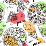 Decorative seamless pattern with round pizza and pieces of pizza. Italian cuisine. Ink hand drawn Vector illustration. Composition of food elements for menu design. - 200879502