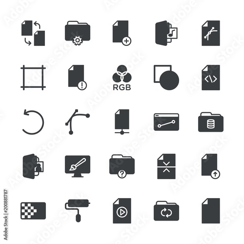 Modern Simple Set of folder, files, design Vector fill Icons. ..Contains such Icons as  template,  paper,  information,  vector,  internet and more on white background. Fully Editable. Pixel Perfect.