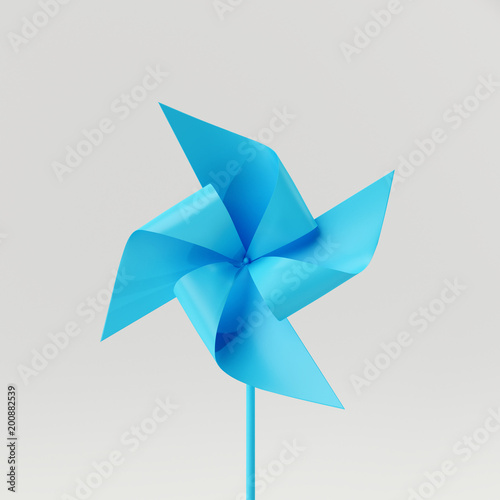 Paper blue windmill isolated on white background. minimal concept 3d rendering © aanbetta