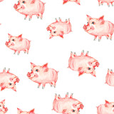 Watercolor seamless pattern with cute piggy. - 200884330