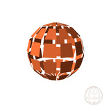 Abstract polygonal broken sphere. Isolated on white background.Vector illustration.