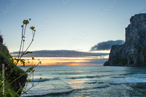 Fotobehang Zee zonsondergang Norway beach