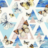 Watercolor triangles with butterfly and marble grunge textures - 200886306
