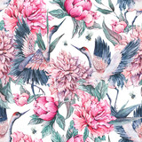 Watercolor seamless pattern with crane, pink peonies - 200886708