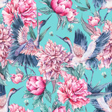 Watercolor seamless pattern with crane, pink peonies - 200886922