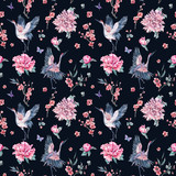 Watercolor seamless pattern with crane, blooming branches, peoni - 200887141