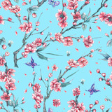 Watercolor seamless pattern with blooming branches of cherry - 200887534