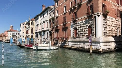 view of Venice houses over water of Grand canal, view from the water, Italy