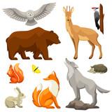 Set of woodland forest animals and birds. Stylized illustration