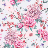Watercolor seamless pattern with blooming cherry, peonies, - 200888364