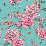 Watercolor seamless pattern with blooming cherry, peonies, - 200888568