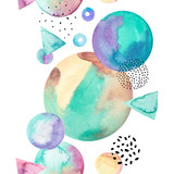 Abstract drawing of geometric elements with watercolor, ink, doodle textures on background. - 200888700