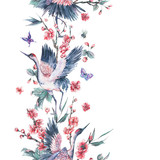 Watercolor seamless border with crane, blooming branches - 200888915