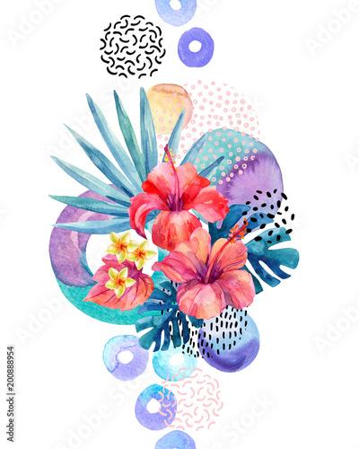 Ręcznie malowane tropikalne kwiaty, dłoń wentylatora, liście monstera, doodle tekstury, geometryczne kształty w hipster, minimalny styl.