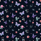 Watercolor seamless pattern buds and butterflies - 200889169