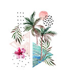 Abstract poster: watercolor palm trees, leaves, hibiscus flower, marble triangles. - 200890527