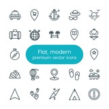 Modern Simple Set of location, travel Vector outline Icons. ..Contains such Icons as  cab,  travel,  internet,  direction,  symbol,  shoes and more on white background. Fully Editable. Pixel Perfect - 200891987