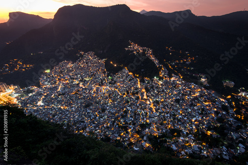 View of Rocinha, the Largest Favela in Rio de Janeiro City, by Evening Light