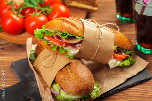 sandwich on a wooden table - 200894310